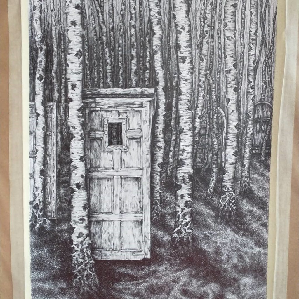 Image of 'convenient acquisition' drawing - Doors in a Silver Birch Forest.